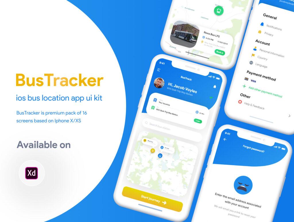 巴士出行类定位软件UI设计套件模型下载BusTracker app UI Kit插图(1)