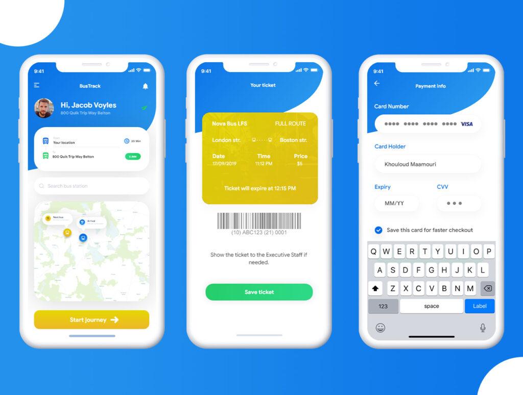 巴士出行类定位软件UI设计套件模型下载BusTracker app UI Kit插图(5)