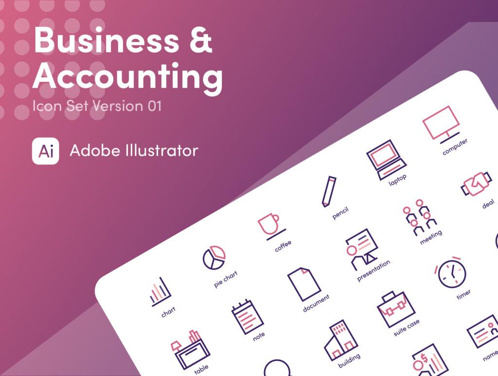 商业和会计图标主题线性图标文件源文件下载Business and Accounting插图(4)
