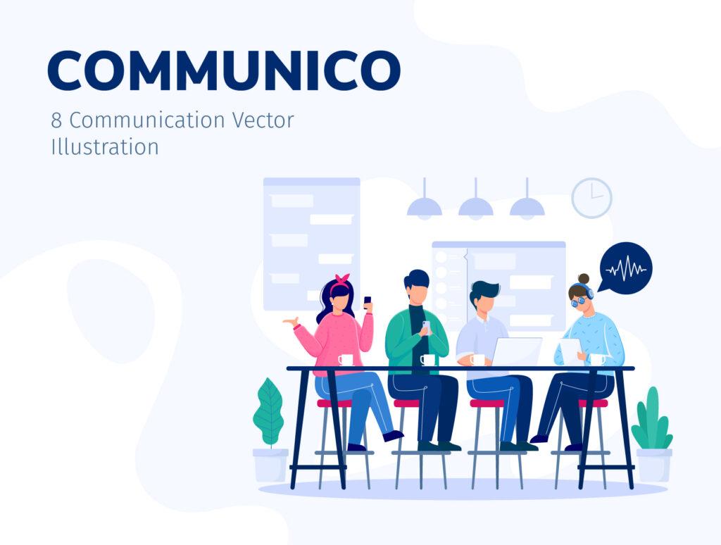 8个办公场景插画模素材模型下载COMMUNICO Illustration Kit插图(1)