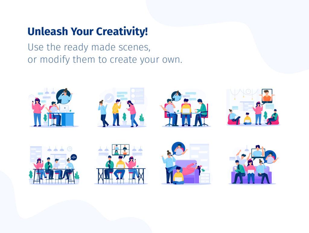 8个办公场景插画模素材模型下载COMMUNICO Illustration Kit插图(4)