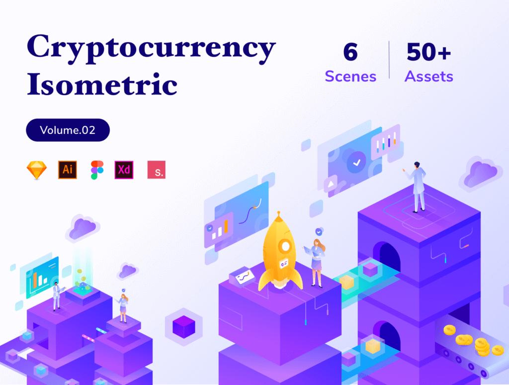 加密货币业务数据场景插画/2.5D插图工具包素材下载Cryptocurrency Business Isometric Kit Vol.02插图(1)