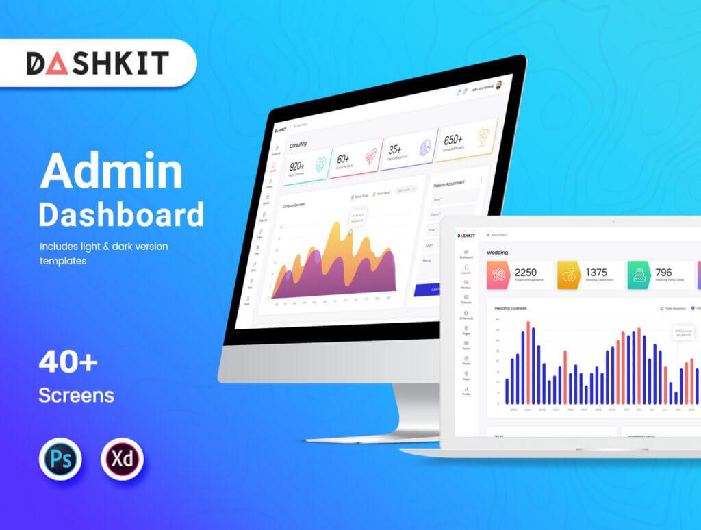 后台仪表盘可视化数据模型素材下载Dashkit  Admin Dashboard UI Kit插图(1)