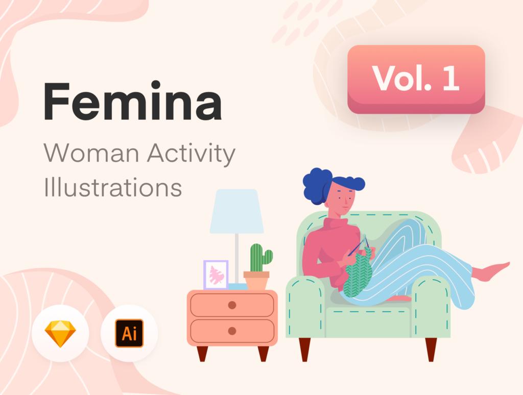 居家生活类相关扁平化插画素材UI素材下载Femina Woman Daily Activity – Vol.1插图(1)
