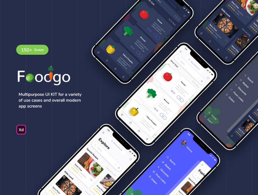 餐厅外卖应用程序设计条件素材源文件下载FoodGo the Best Grocery and Restaurant App插图(1)