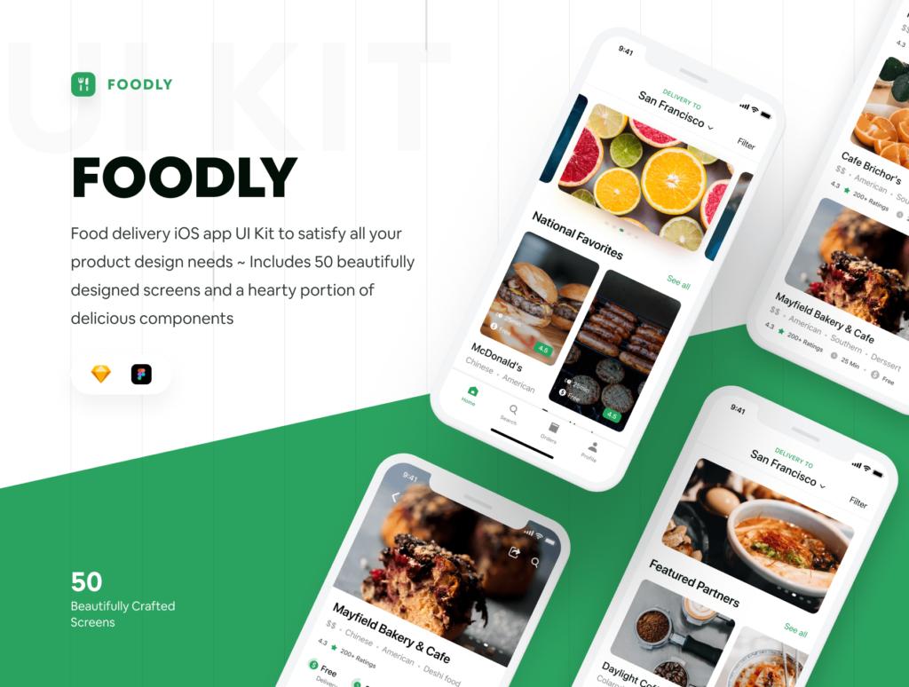 食品配送/美食定制外卖类iOS应用界面设计套件素材下载Foodly iOS UI Kit插图(1)