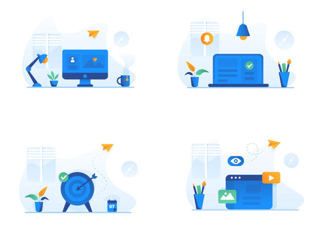 现代企业办公场景插画/移动界面素材下载Illustration Pack插图(5)
