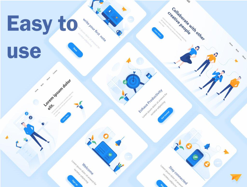 现代企业办公场景插画/移动界面素材下载Illustration Pack插图(7)