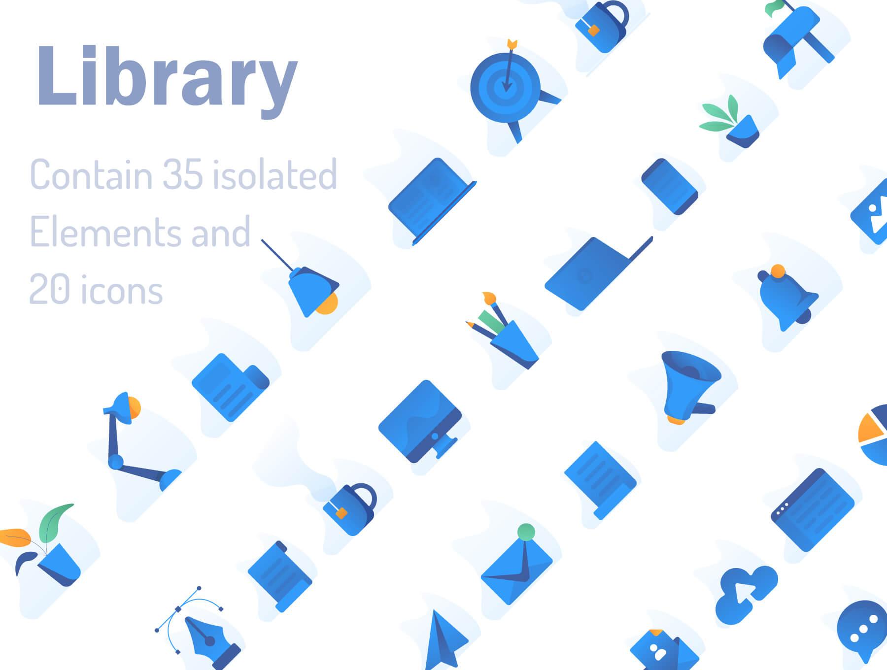 现代企业办公场景插画/移动界面素材下载Illustration Pack插图(1)