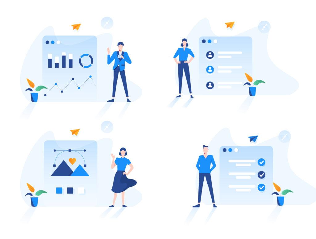 现代企业办公场景插画/移动界面素材下载Illustration Pack插图(9)