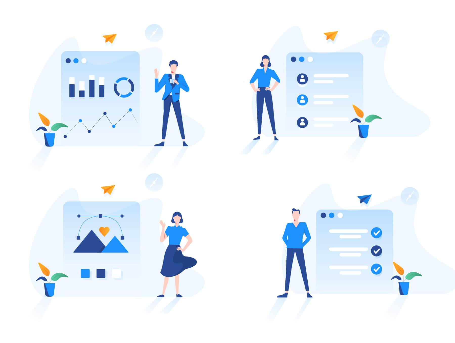 现代企业办公场景插画/移动界面素材下载Illustration Pack插图(2)