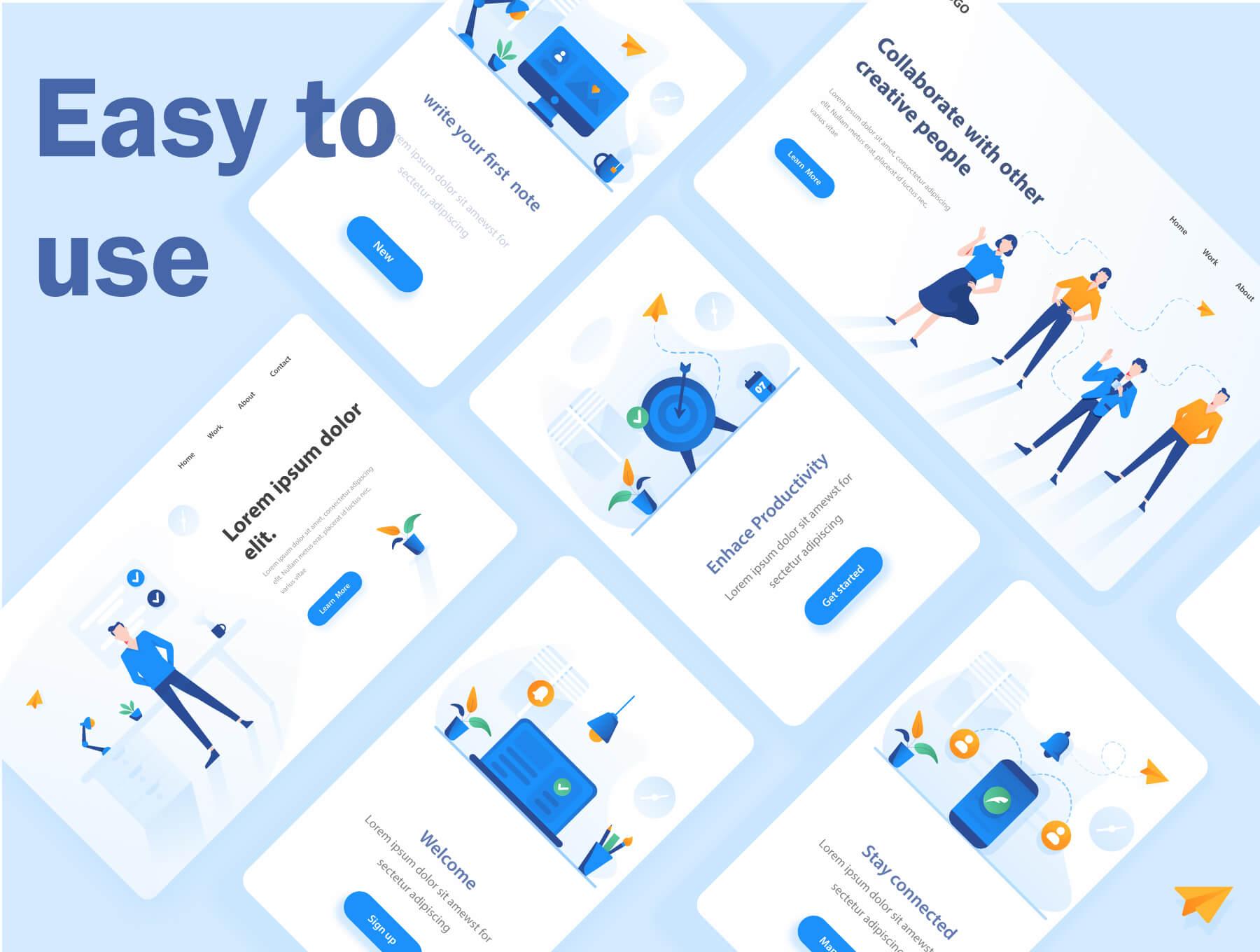 现代企业办公场景插画/移动界面素材下载Illustration Pack插图