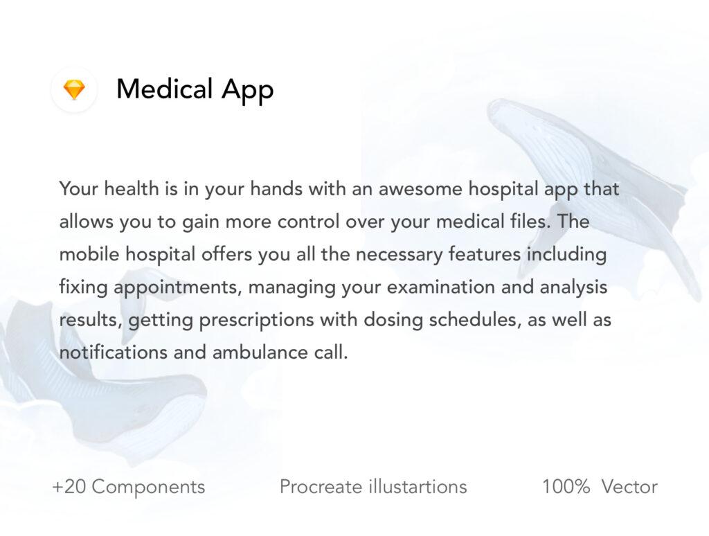 医疗移动应用程序素材模型设计套件素材下载Medical App UI Kit插图(1)