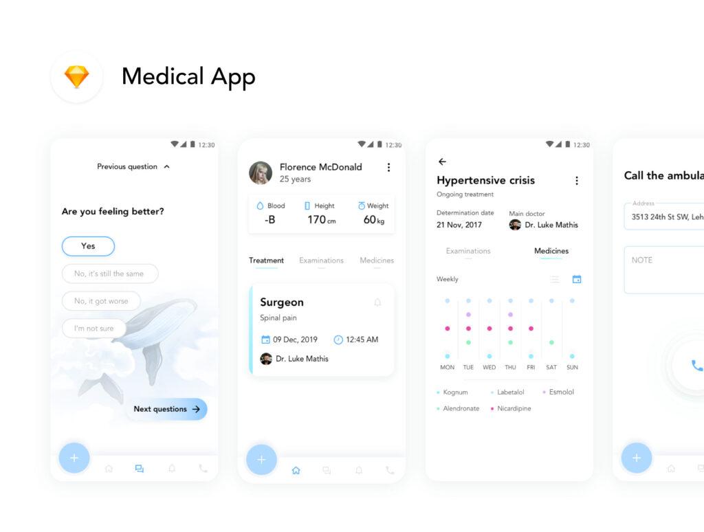 医疗移动应用程序素材模型设计套件素材下载Medical App UI Kit插图