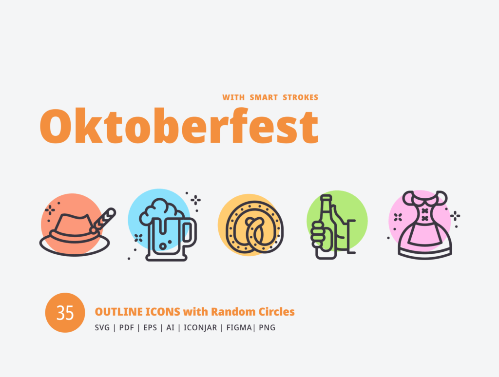 描边风啤酒派对场景线性图标素材下载Oktoberfest Random Circles插图(1)