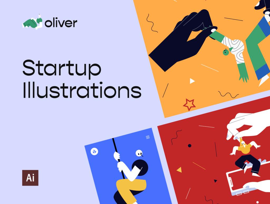 创意插画拼图风格插画素材下载Oliver Illustrations插图(1)