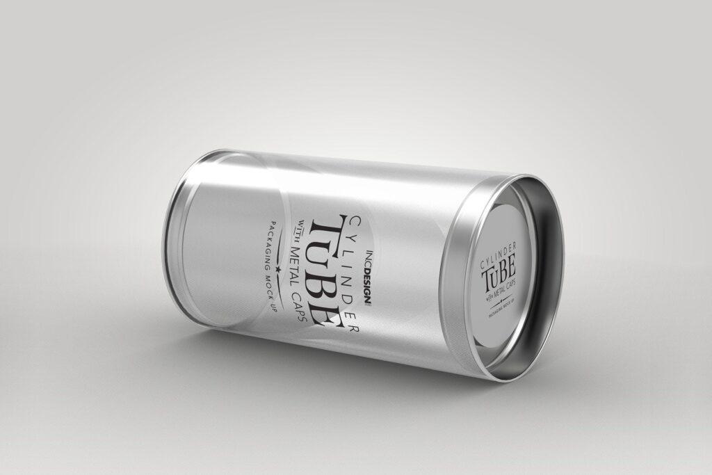 带有金属盖的PVC圆筒管包装样机模型/多角度展示样机效果图120mm Cylinder Tube Packaging Mockup插图
