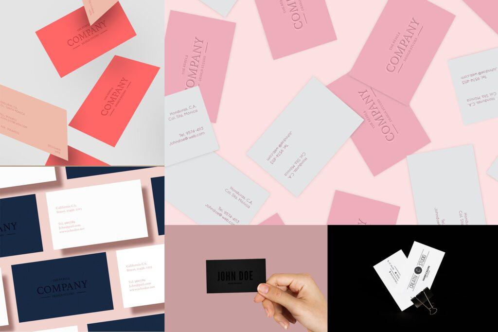 5个多场景名片展示样机效果图5 Business Card Mock Up Pack Vol 01插图