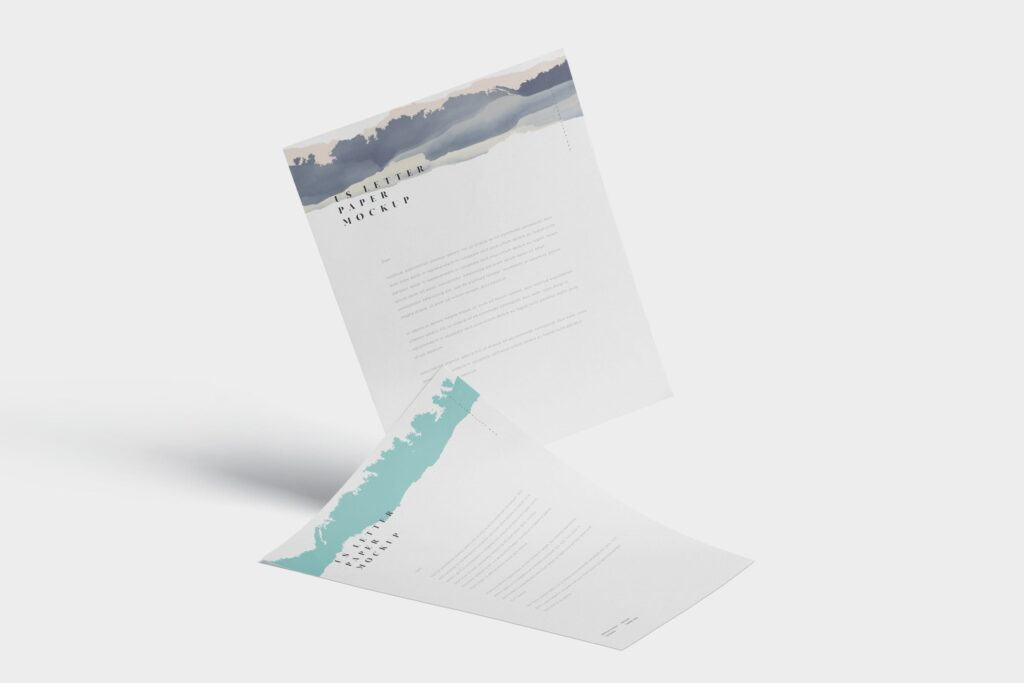 企业宣传传单模型样机效果图下载5 US Letter Paper Mockups插图