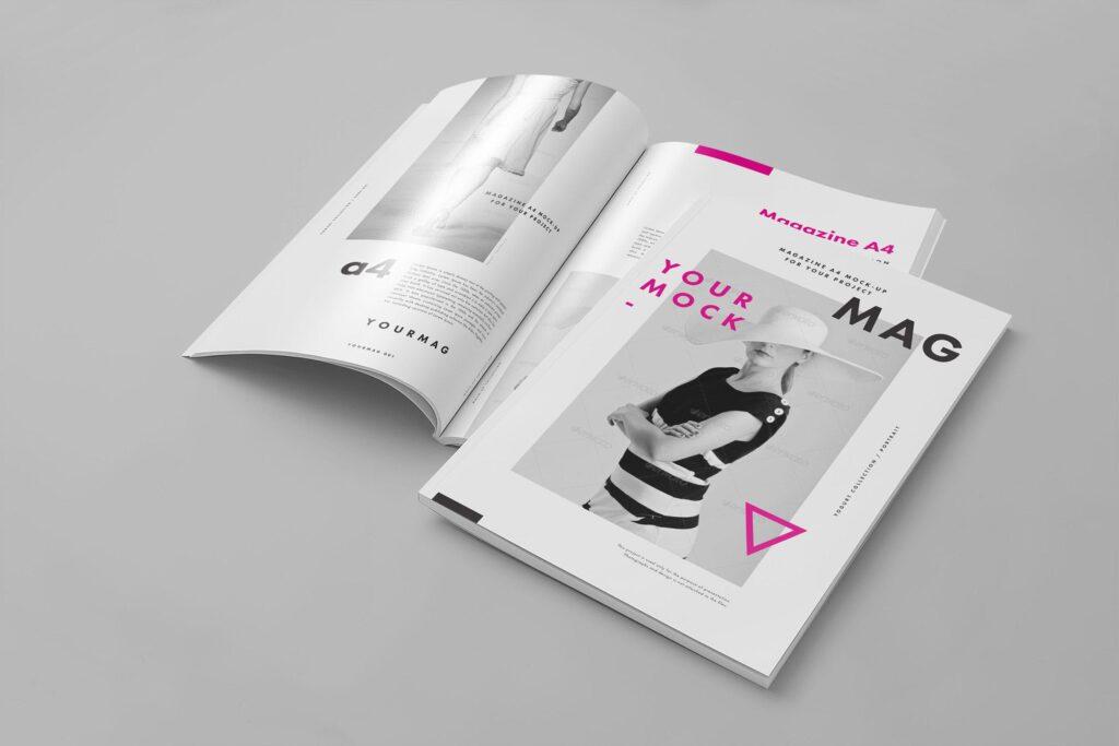 逼真的A4艺术类杂志/目录模型样机A4 Magazine Mockup 2插图