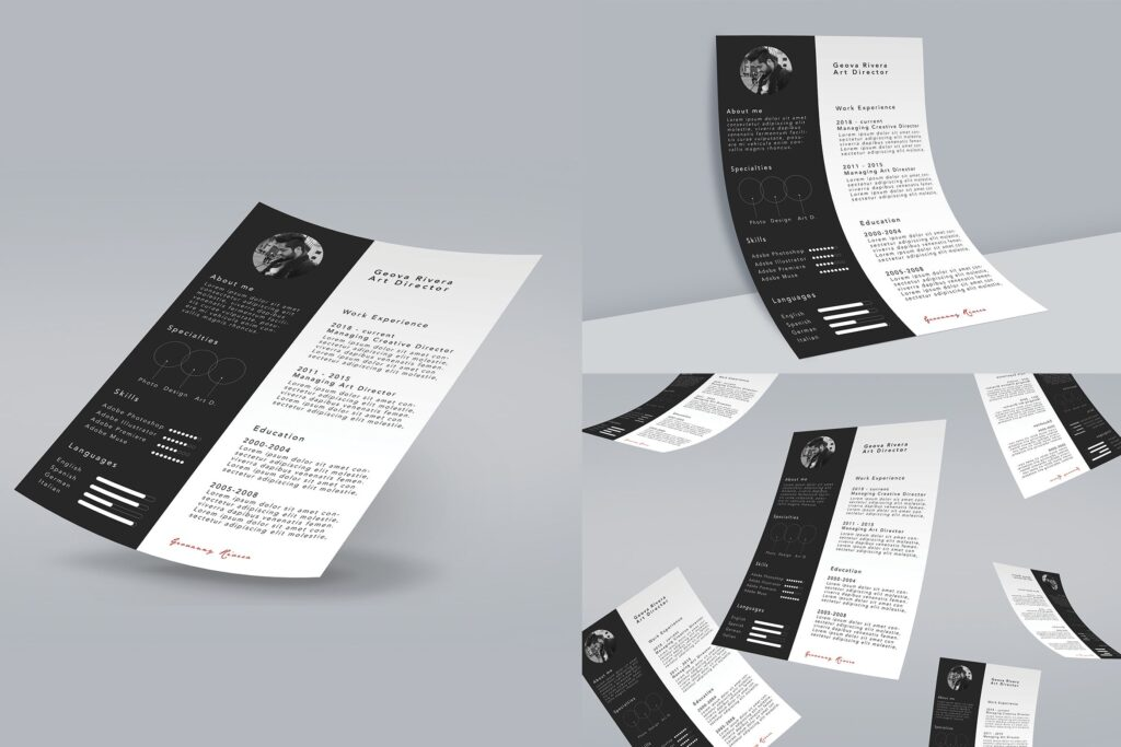 精致版式A4尺寸求职简历样机模板下载A4 Mock Up Presentations插图