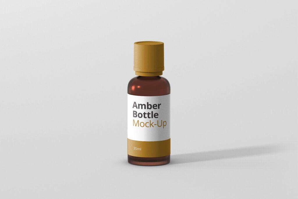 6个高品质琥珀药品瓶模型样机Amber Bottle Mockup插图