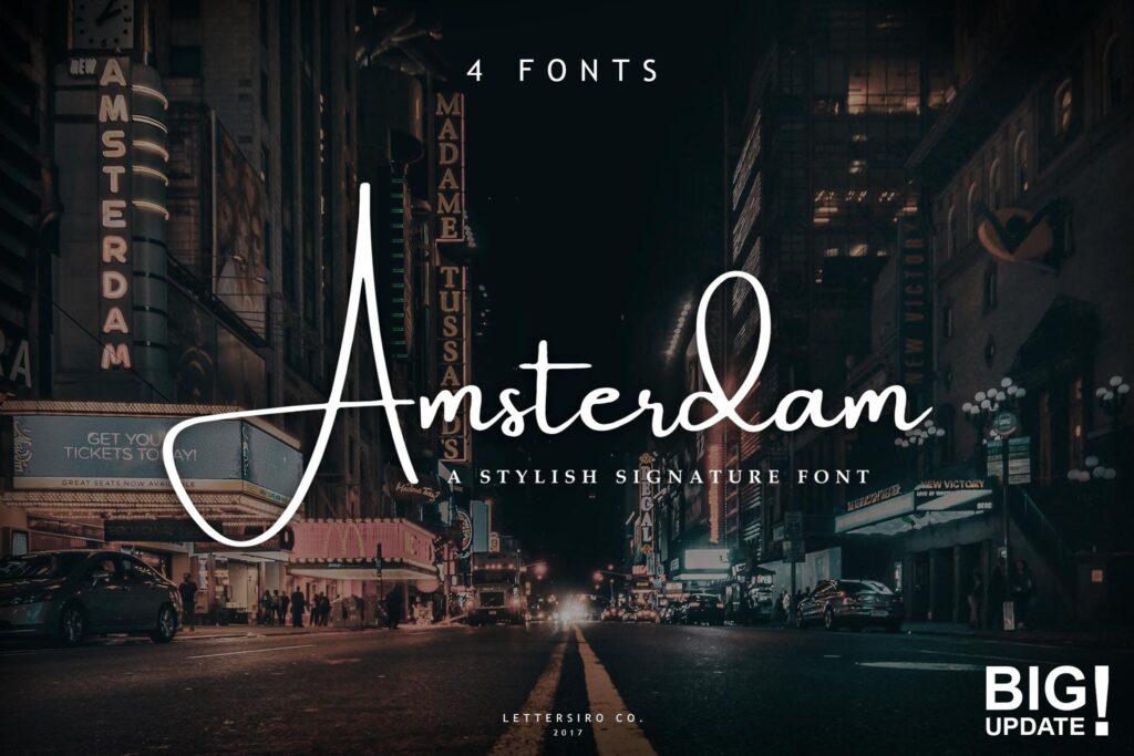 商务钢笔字体艺术签名英文字体Amsterdam Font Collection插图