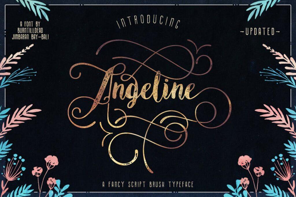 经典文艺毛笔包装字体Angeline插图