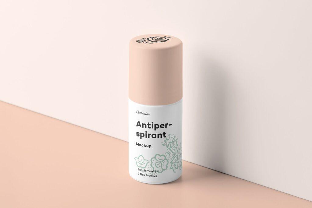 药品包装瓶瓶样机模型效果图下载Antiperspirant Mockup 2插图