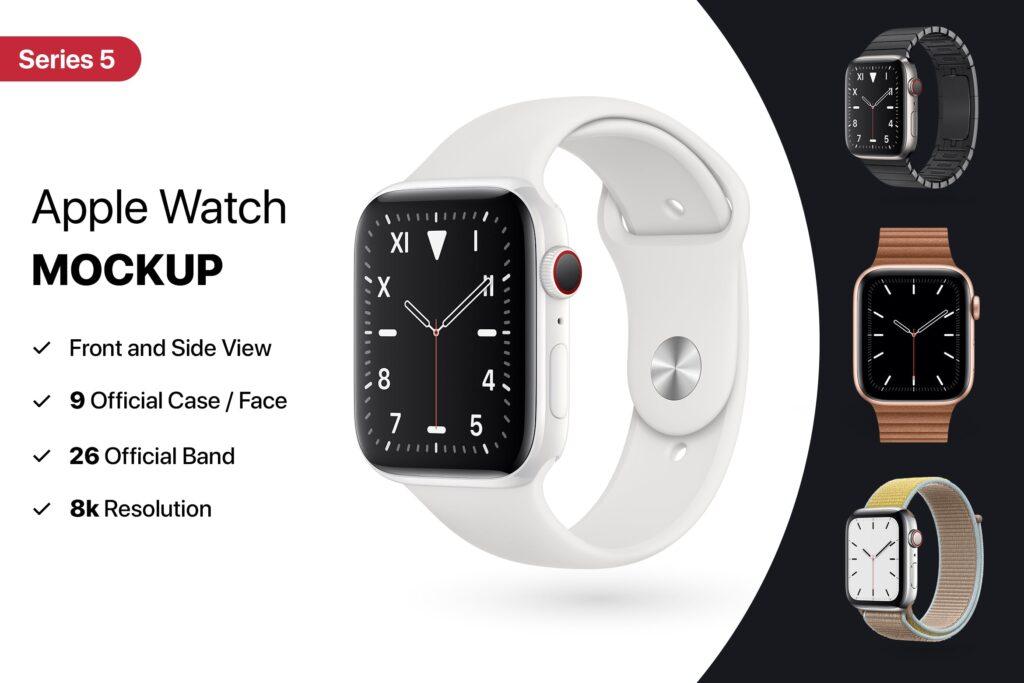 苹果手表系列5展示效果图样机模型下载Apple Watch Mockup Series 5插图