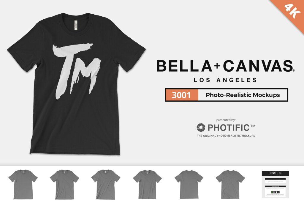 4K分辨率男士T恤展示效果样机素材Bella Canvas 3001 T Shirt Mockups插图