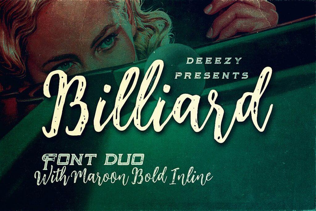 复古风格笔刷英文手写字体Billiard Font Duo插图