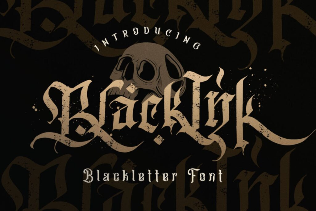 万圣节主题海报宣传衬线英文字体下载Blackink Blackletter Font插图