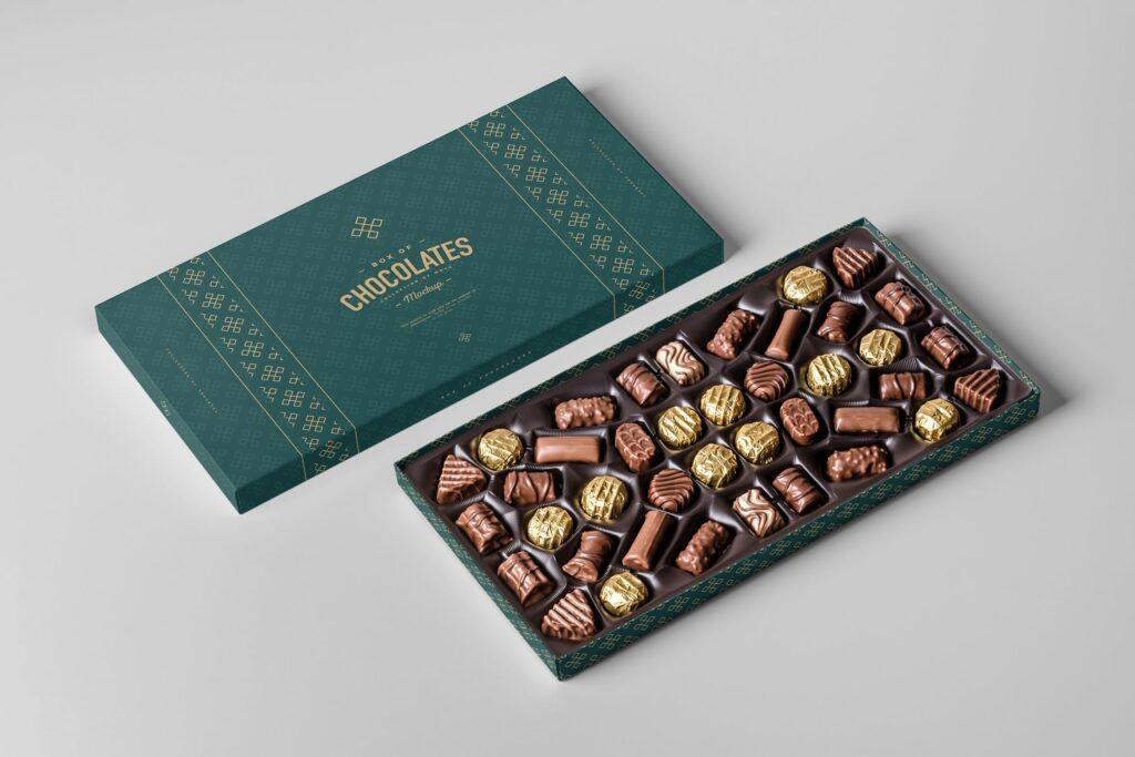 精致巧克力品牌包装模型样机效果Box Of Chocolates Mockup 2插图
