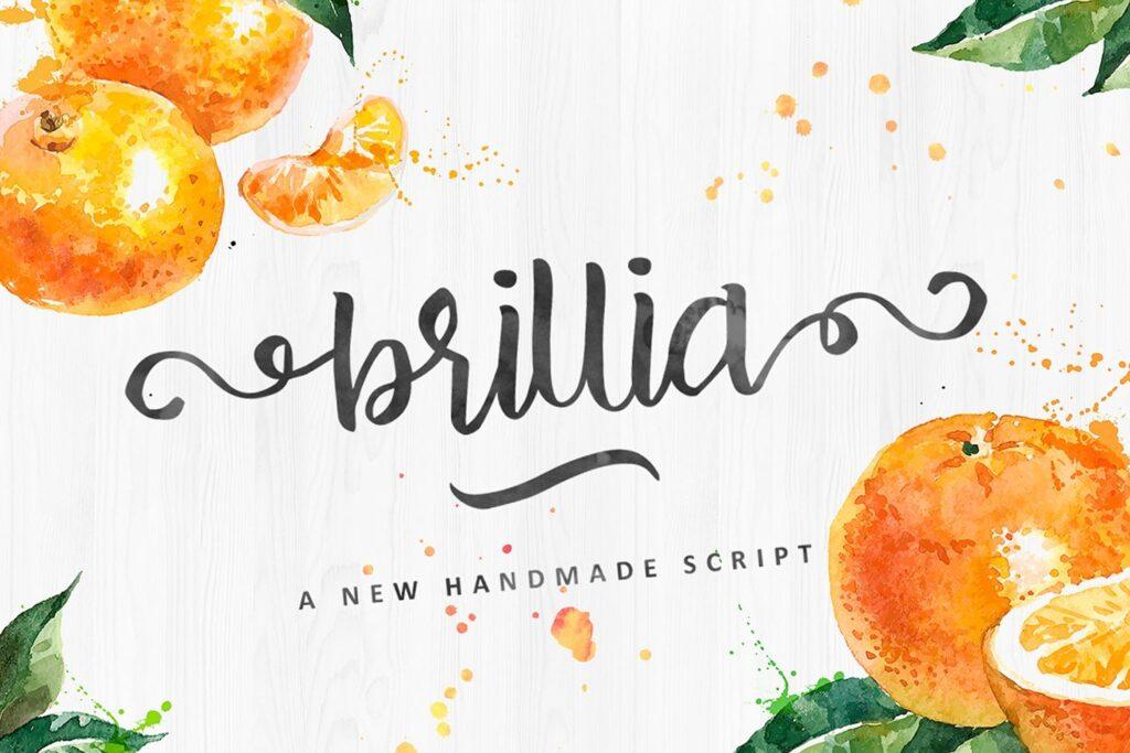 品牌包装装饰英文手写字体下载Brillia Script插图