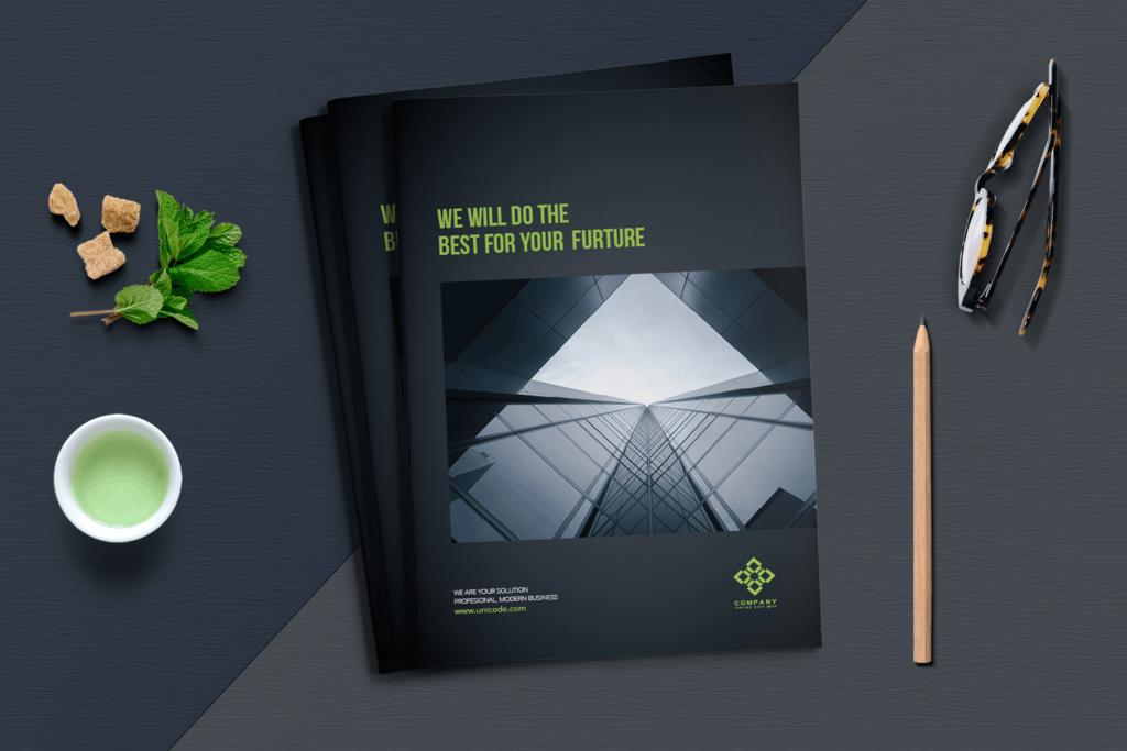 整洁典现代专业的企业商务手册模板Business Brochure Template DV95G插图