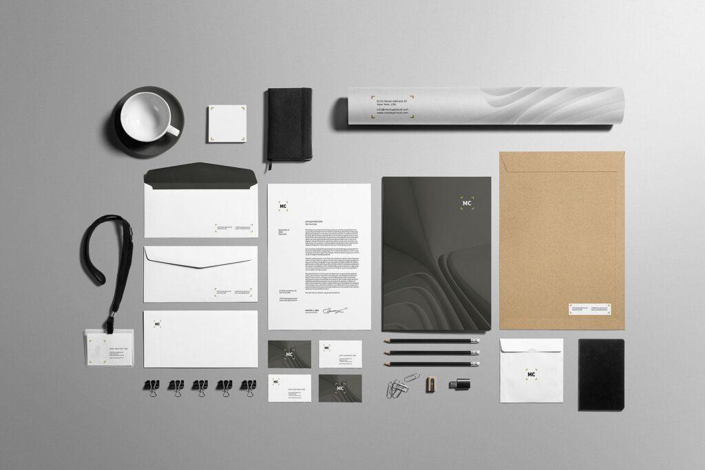 高端优质商务品牌办公文具VI模型样机素材下载Business Stationery Branding Mockup插图