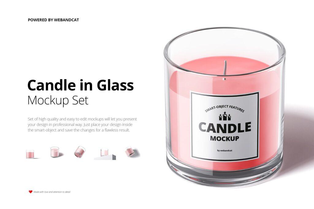 5个高质量蜡烛玻璃模型样机展示效果图Candle in Glass Mockup插图