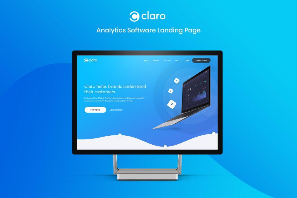 软件仪表盘APP登陆页面网站UI素材模板Claro Software Dashboard App Landing Page插图