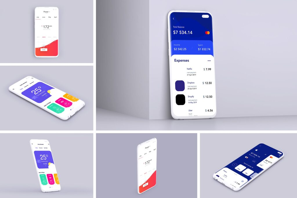 UI作品包装样机模型/三星Galaxy S10 Plus模型样机效果图Clay Mobile Mockup D97YTXQ插图