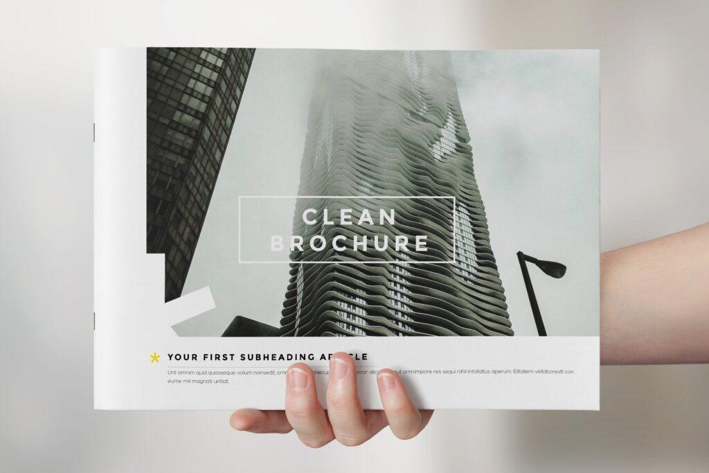 横版企业小册子/目录模板画册杂志模板Clean Brochure Catalog Template插图