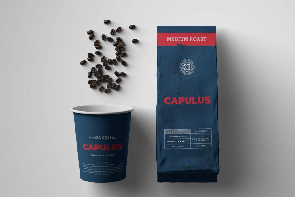 热饮咖啡模型/咖啡豆纸质包装袋模板素材样机Coffee Bag Packaging Template XYM3VQ插图