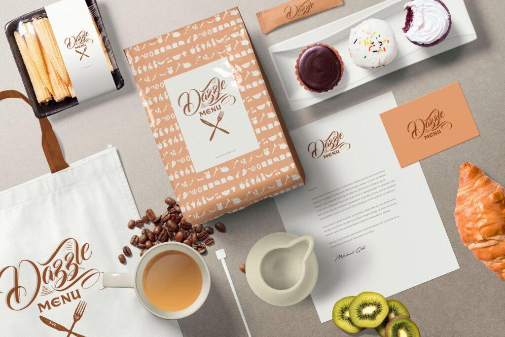文艺咖啡店品牌VI设计样机素材下载Coffee Themed Brand Identity Mockup Scenes插图