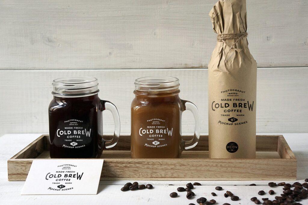 咖啡馆餐饮品牌样机/冷煮咖啡模型样机Cold Brew Coffee Mockup插图