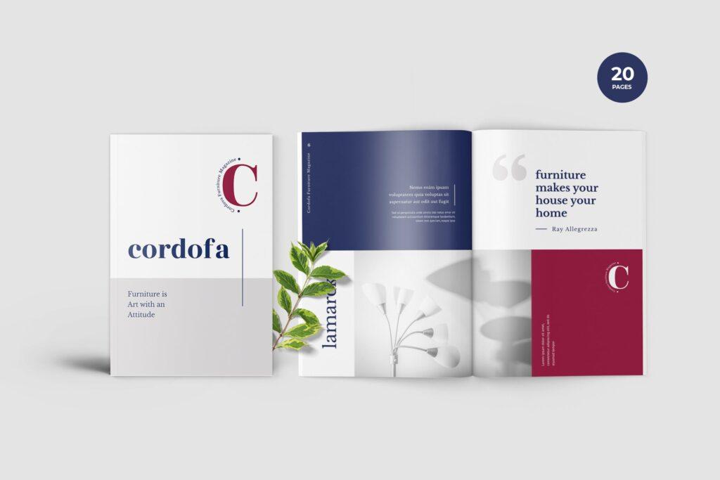 多用途欧美极致简洁版式画册杂志模版Cordofa Furniture Magazine Template插图