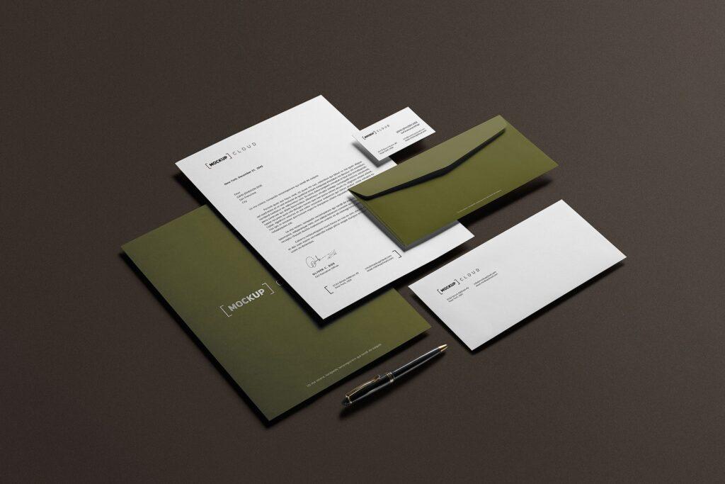 优质企业办公品牌文具样机模型下载Corporate Stationery Branding Mockup插图