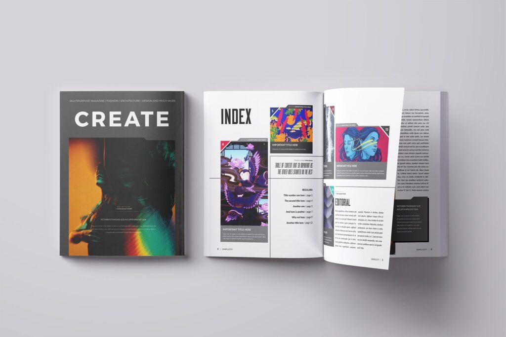 艺术品绘画作品展览画册杂志模板Create Magazine Template插图