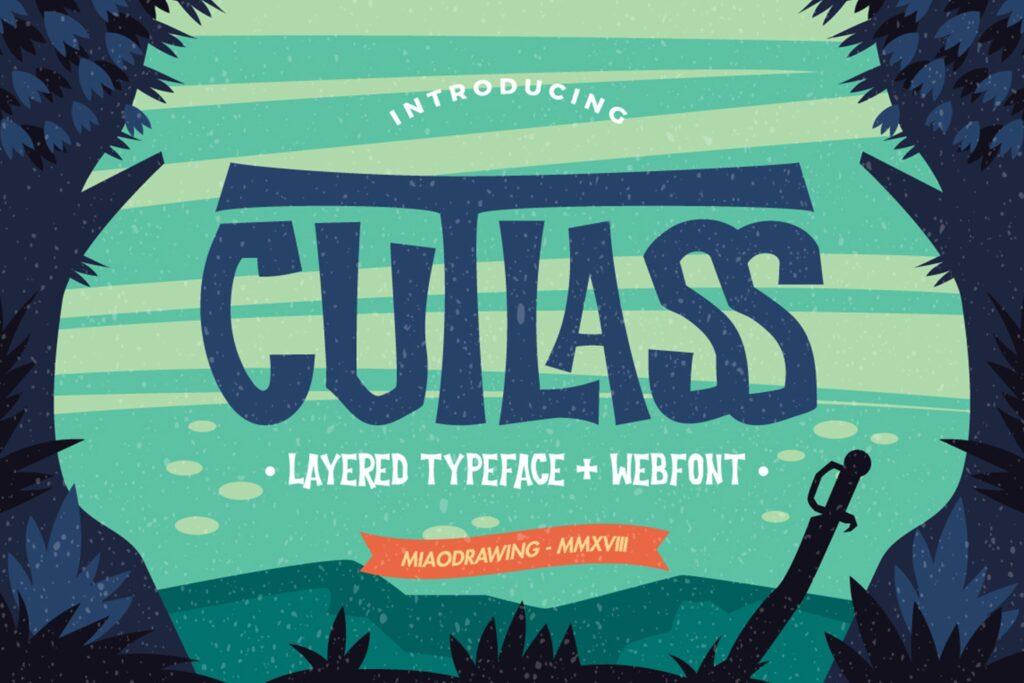 经典的恐怖漫画和海盗文化海报装饰字体Cutlass Typeface Lite插图