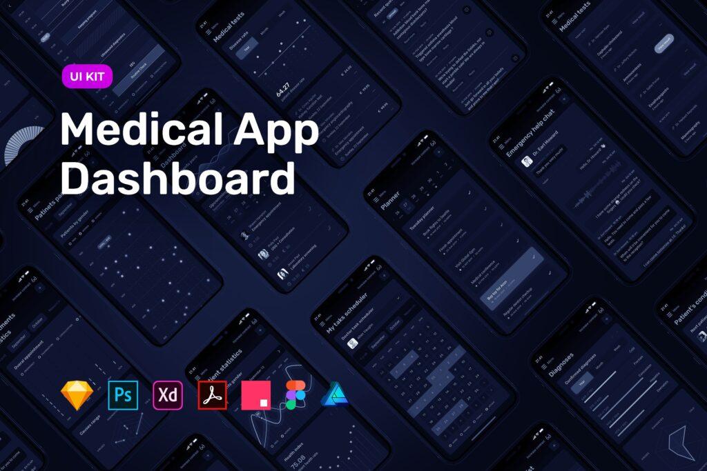 数据统计模板素材移动应用程序界面UI组件模板素材Dark Medical App Dashboard MedUX UI Kit插图