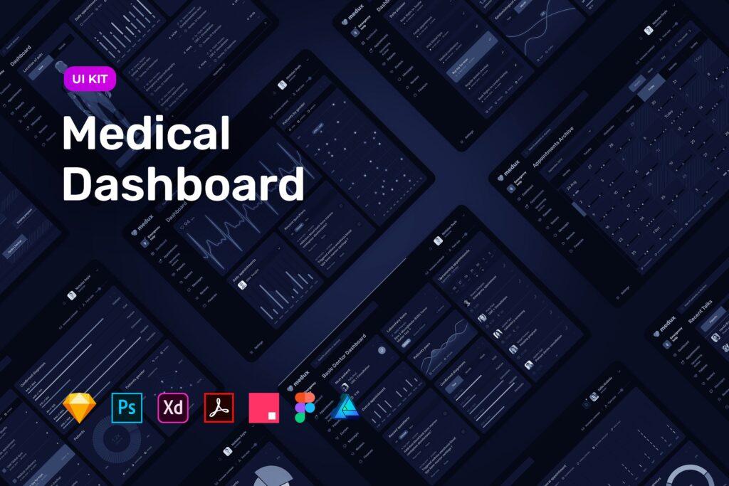 在线医疗数据可视化平台UI组件模板素材下载Dark Medical Dashboard UI KIT插图